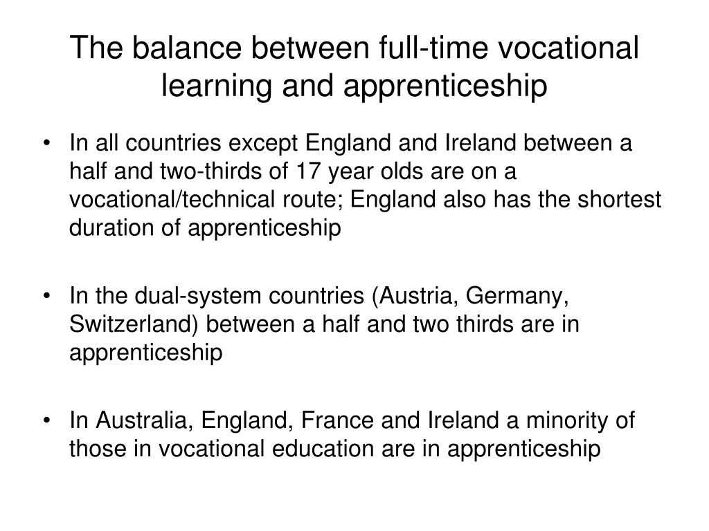 The balance between full-time vocational learning and apprenticeship