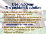 deep ecology the problem solution