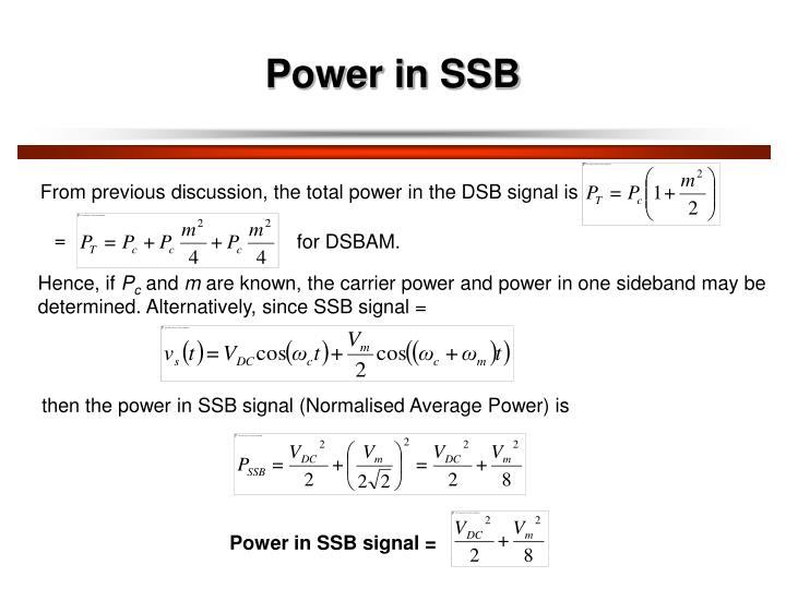 Power in SSB