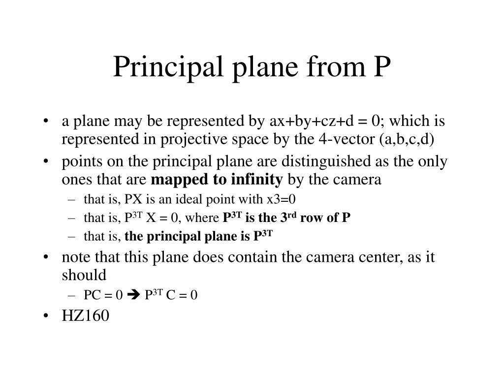 Principal plane from P
