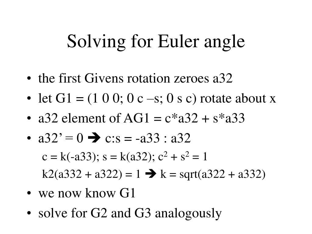 Solving for Euler angle
