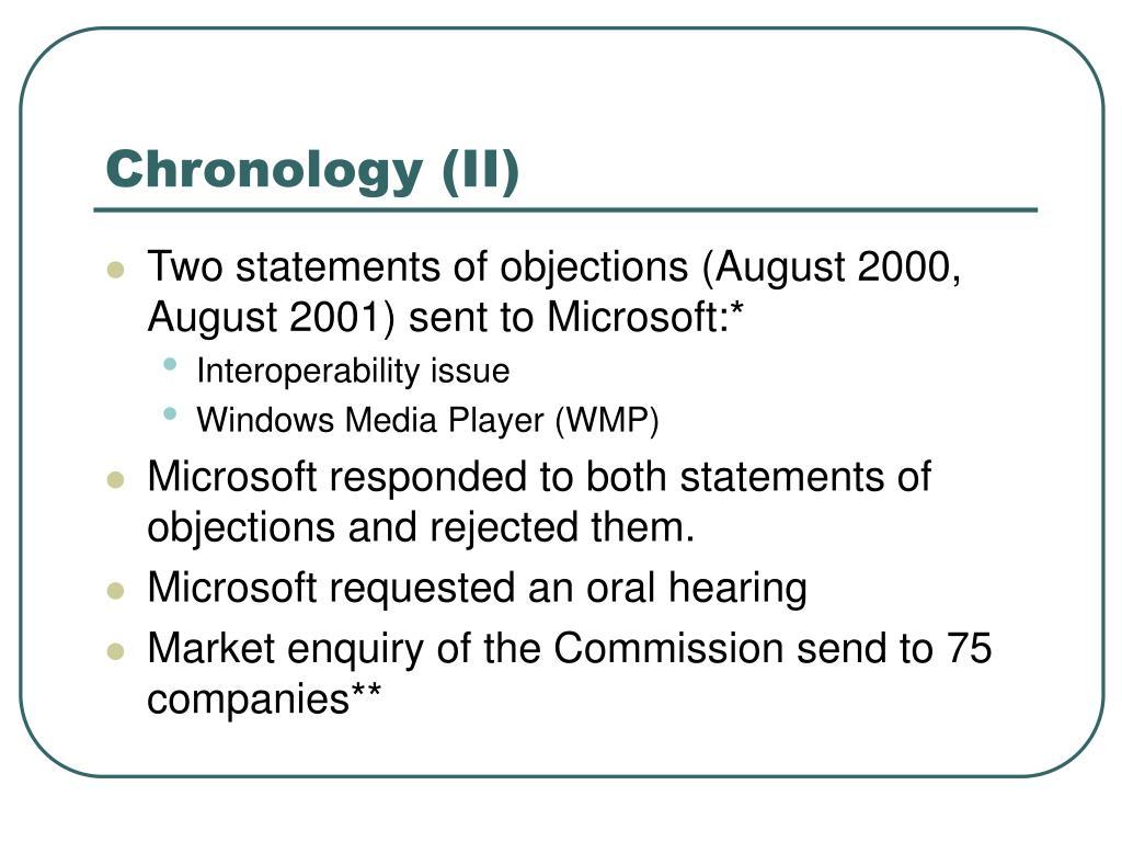 Chronology (II)