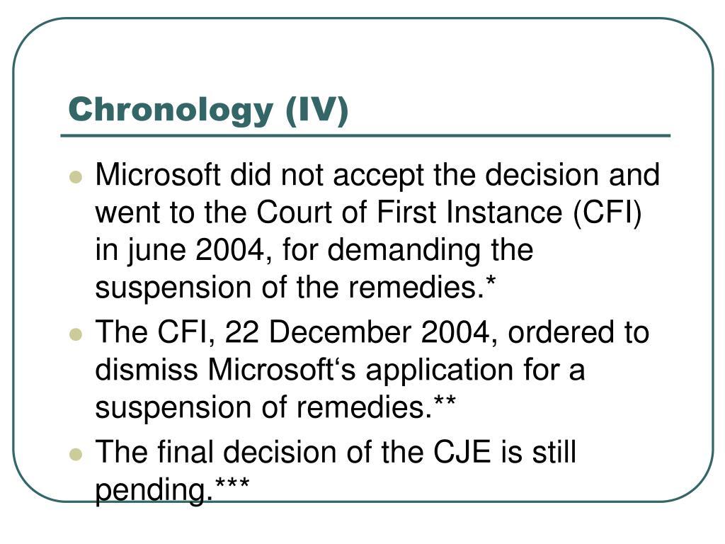 Chronology (IV)