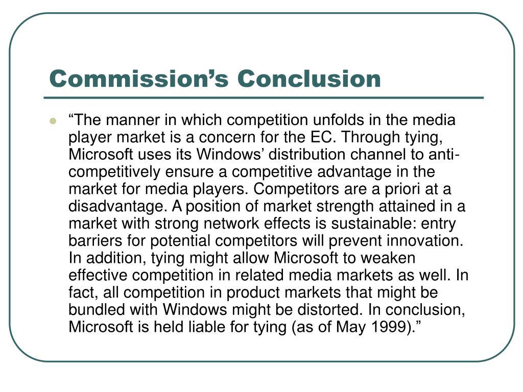 Commission's Conclusion