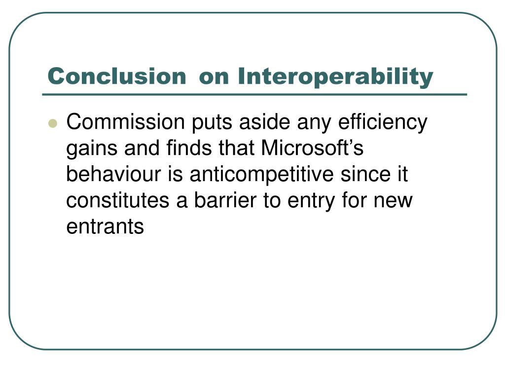 Conclusion on Interoperability