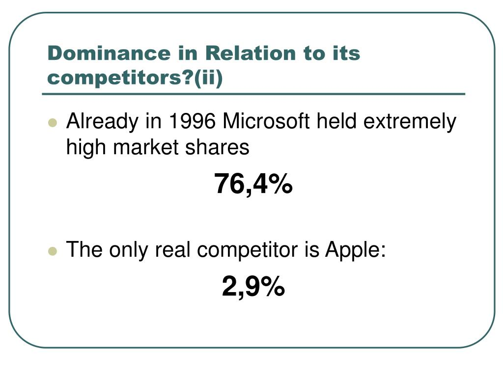 Dominance in Relation to its competitors?(ii)