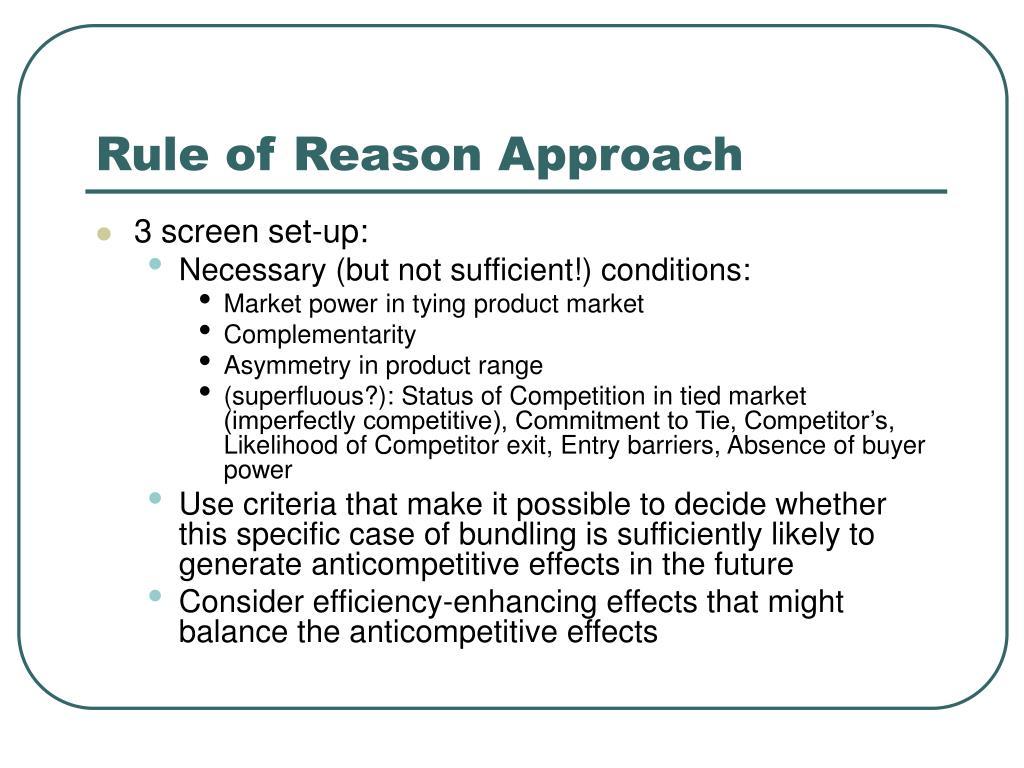 Rule of Reason Approach