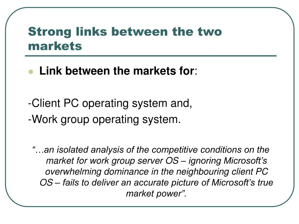 Strong links between the two markets