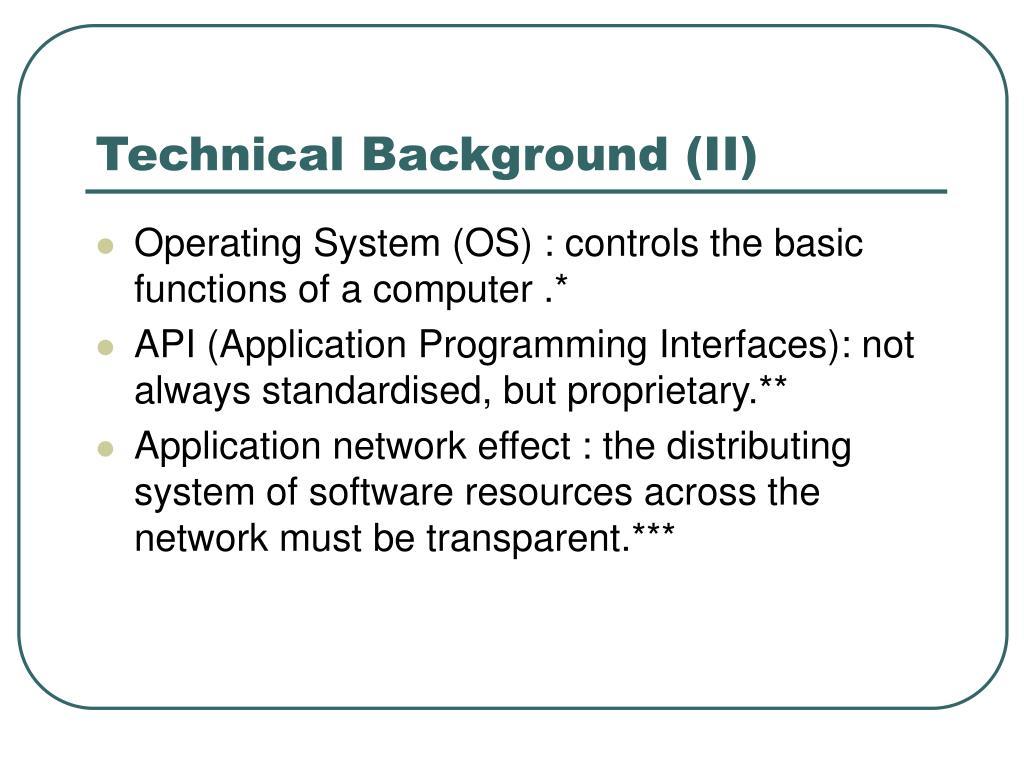 Technical Background (II)