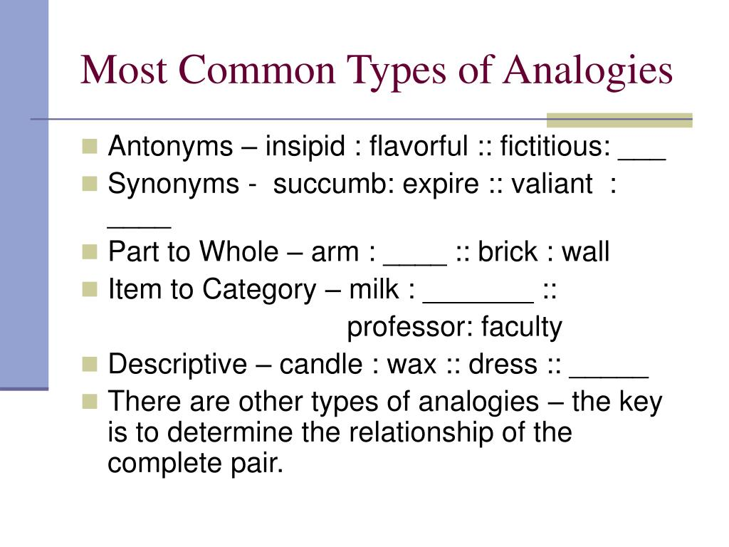 Most Common Types of Analogies