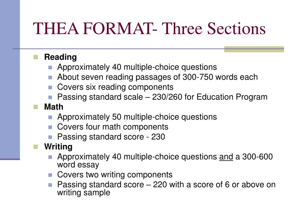 THEA FORMAT- Three Sections