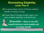 reinstating eligibility under plan a