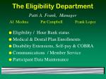 the eligibility department patti a frank manager al medina pat campbell frank lopez