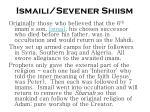 ismaili sevener shiism