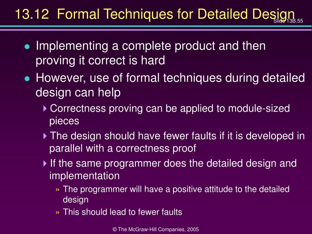 13.12  Formal Techniques for Detailed Design