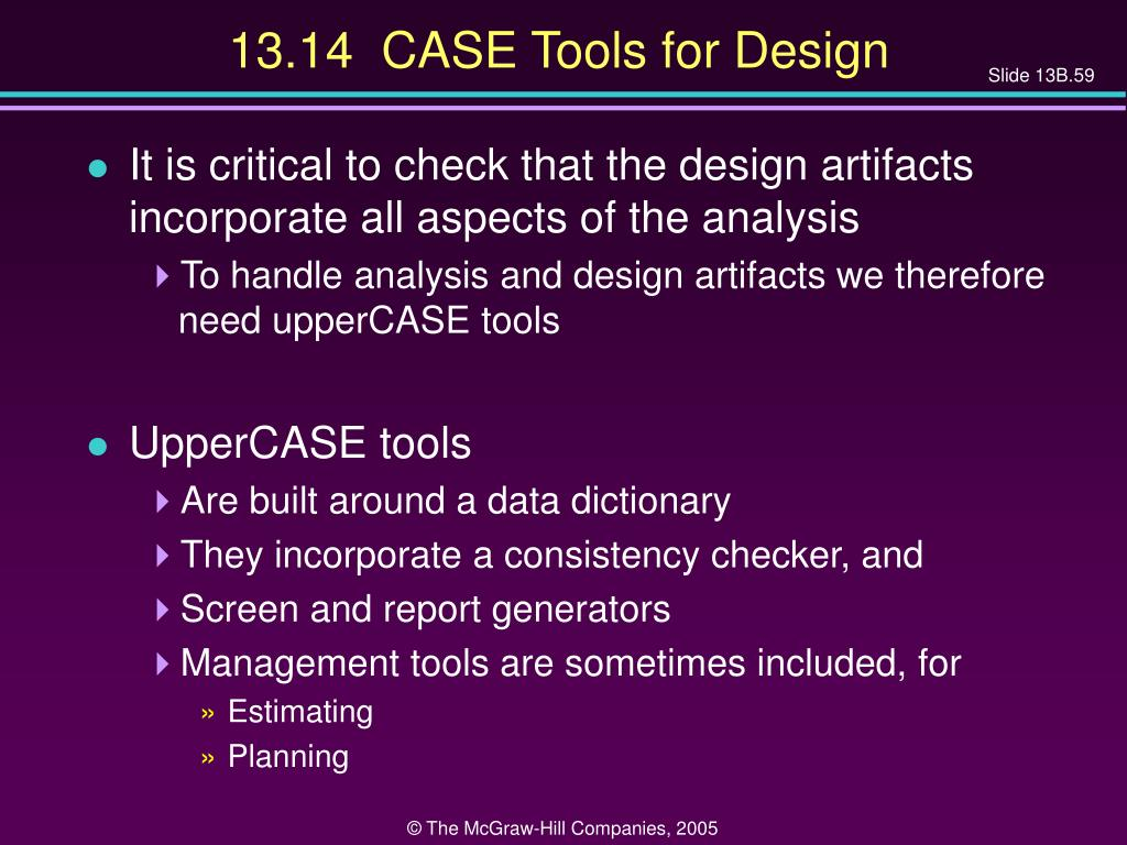 13.14  CASE Tools for Design