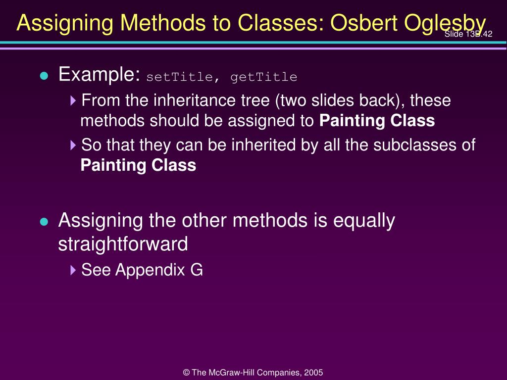 Assigning Methods to Classes: Osbert Oglesby