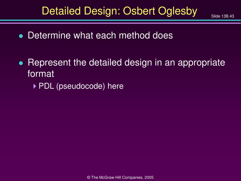 Detailed Design: Osbert Oglesby