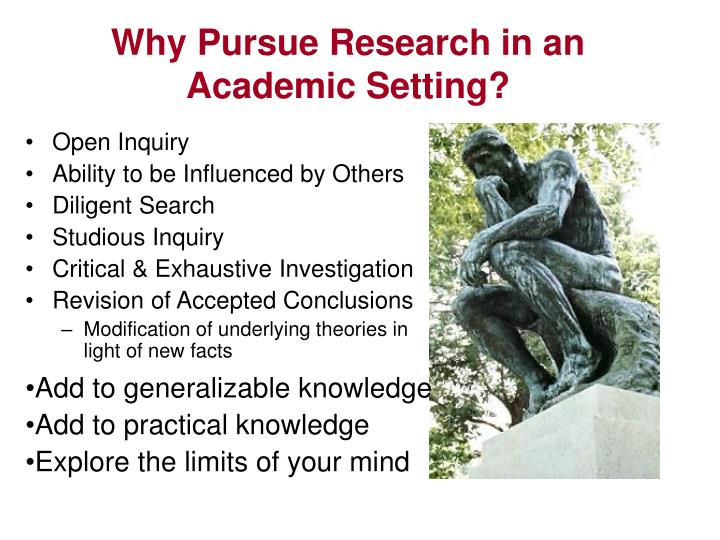 Why Pursue Research in an Academic Setting?