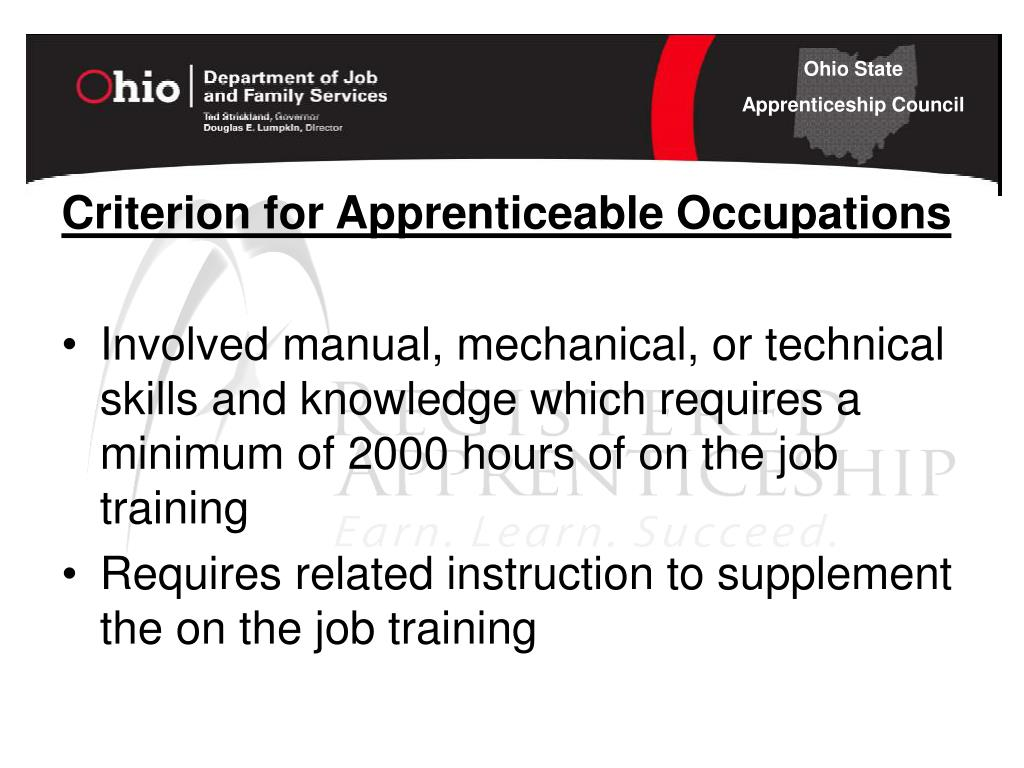 Criterion for Apprenticeable Occupations