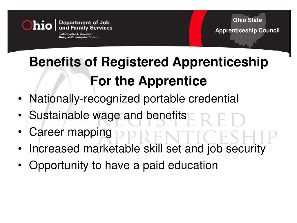 Benefits of Registered Apprenticeship