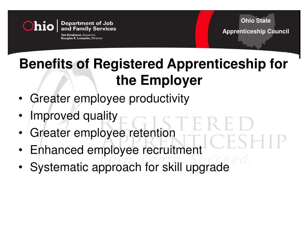 Benefits of Registered Apprenticeship for the Employer