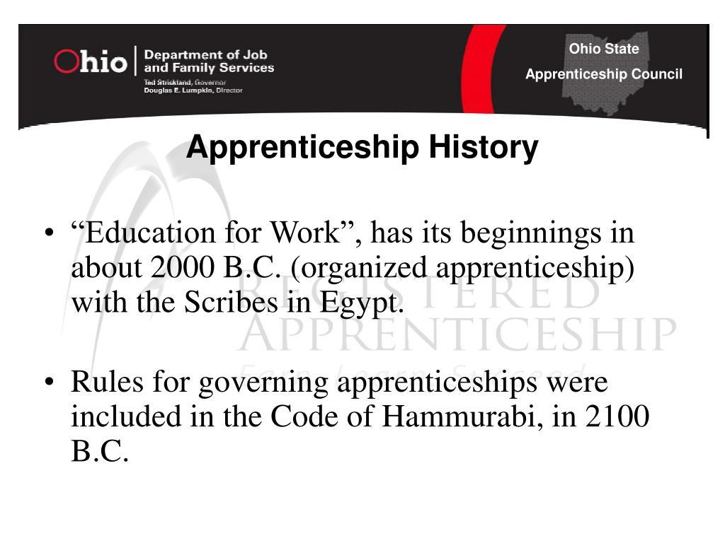Apprenticeship History
