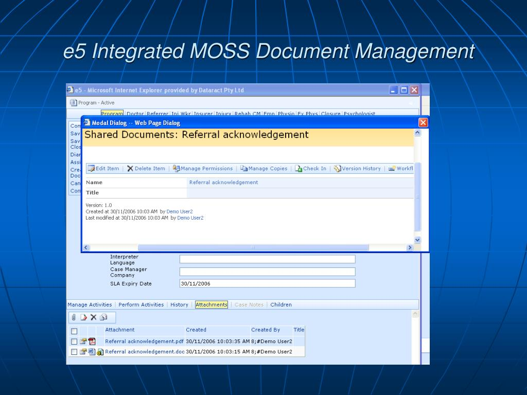 e5 Integrated MOSS Document Management
