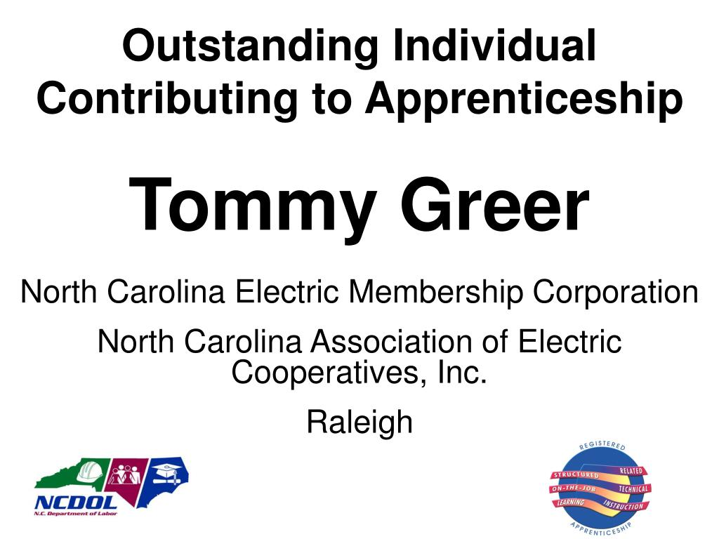 Outstanding Individual Contributing to Apprenticeship