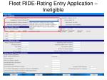 fleet ride rating entry application ineligible