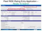fleet ride rating entry application ready to submit