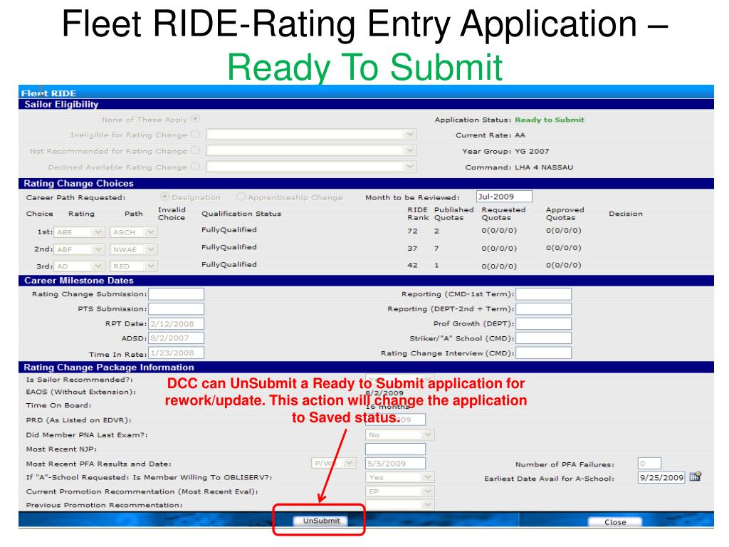 Fleet RIDE-Rating Entry Application –