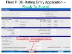 fleet ride rating entry application ready to submit17