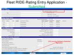 fleet ride rating entry application submitted