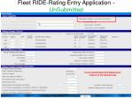 fleet ride rating entry application unsubmitted