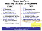 shape the force investing in sailor development
