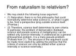 from naturalism to relativism