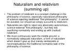 naturalism and relativism summing up