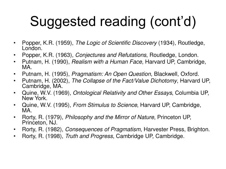 Suggested reading (cont'd)