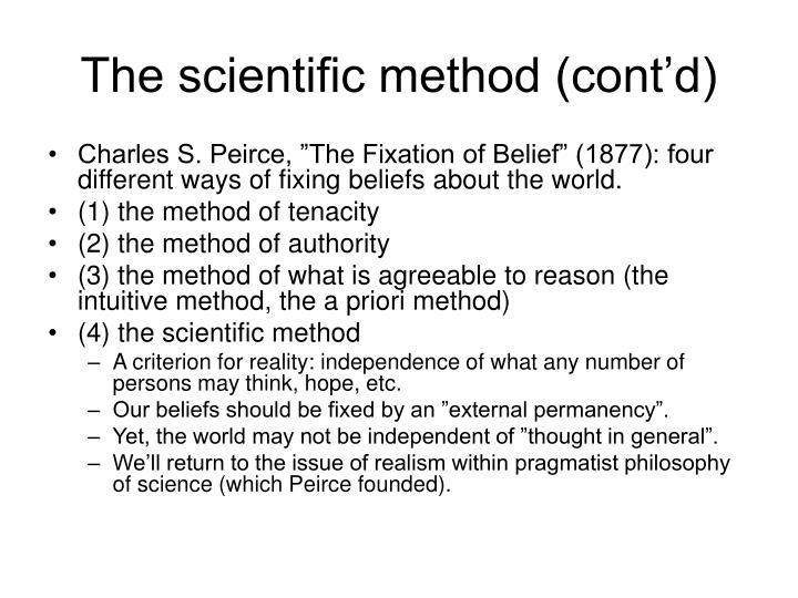 The scientific method (cont'd)