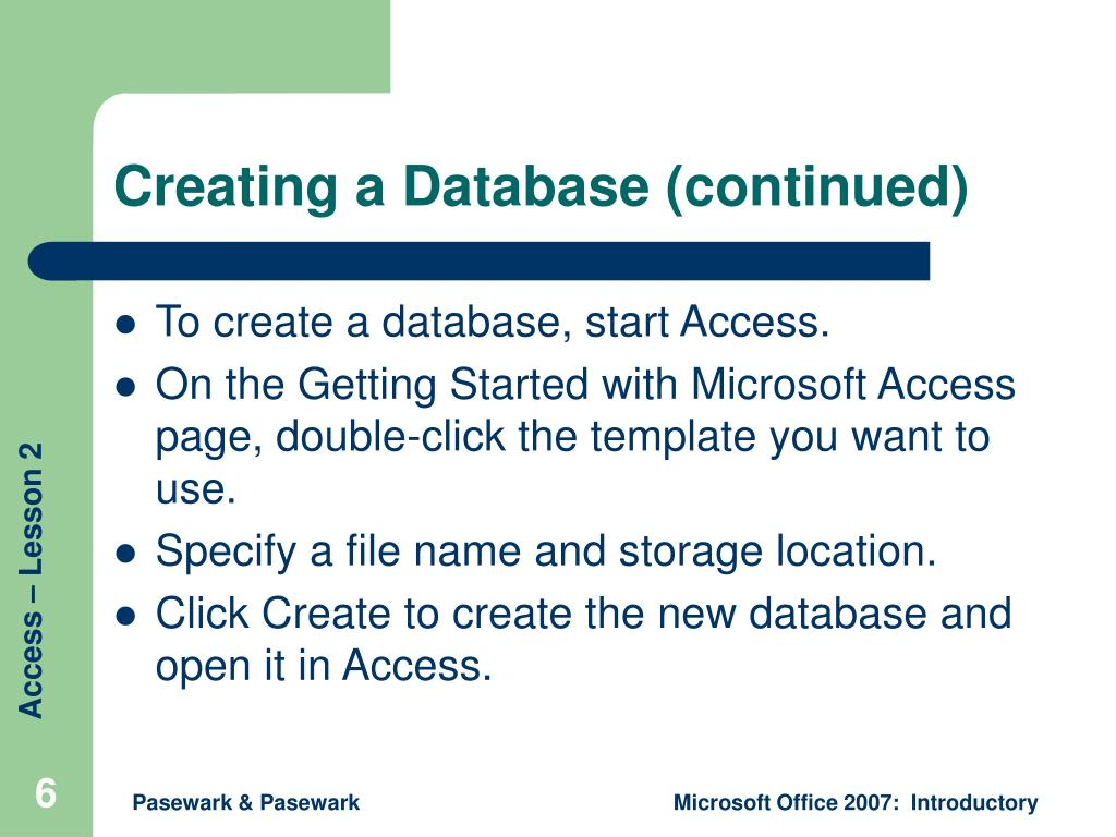 Creating a Database (continued)