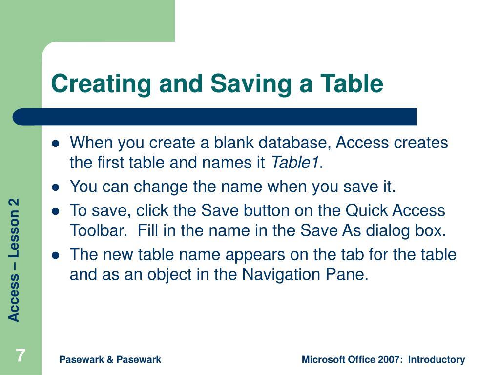 Creating and Saving a Table