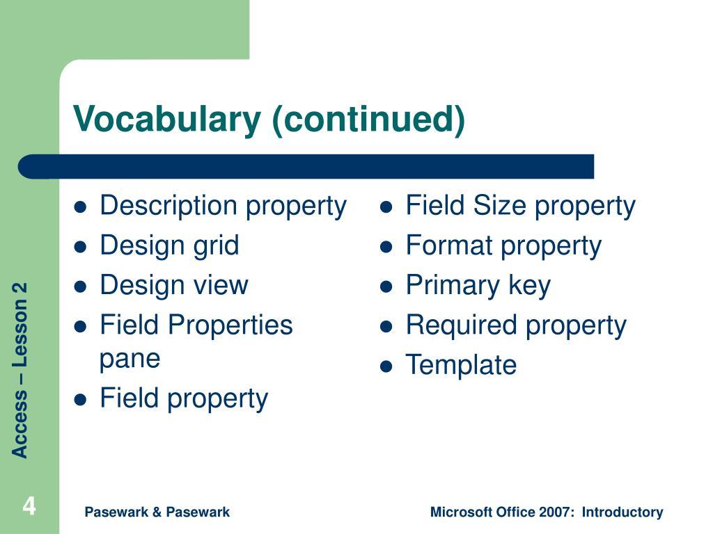 Description property