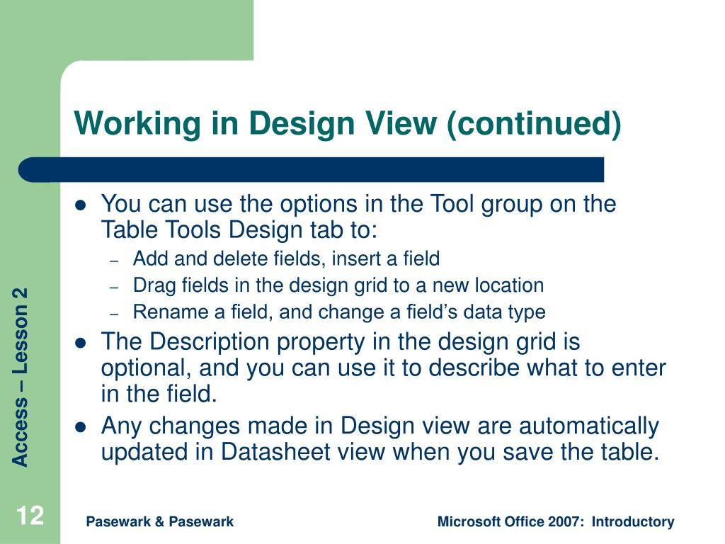 Working in Design View (continued)