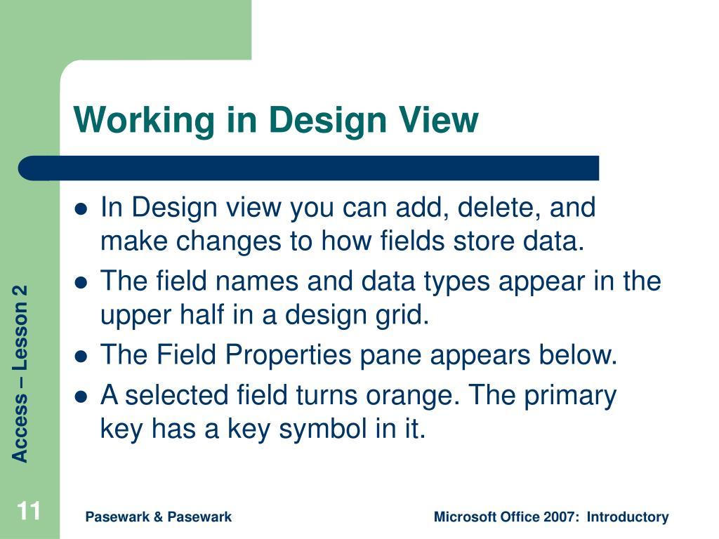 Working in Design View