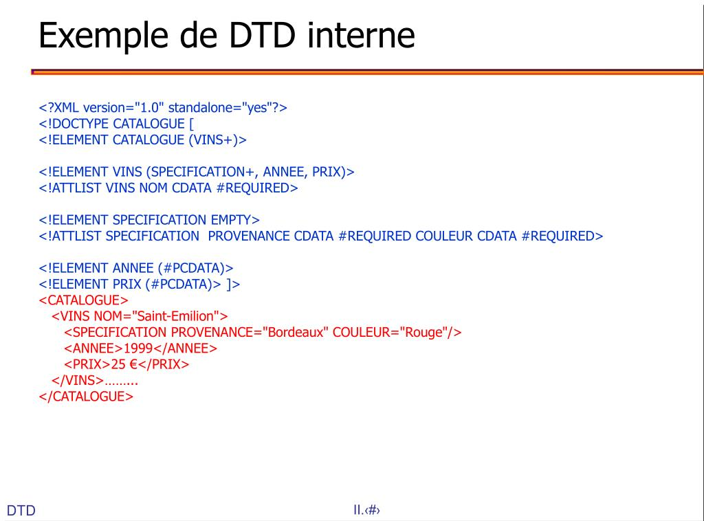 Exemple de DTD interne