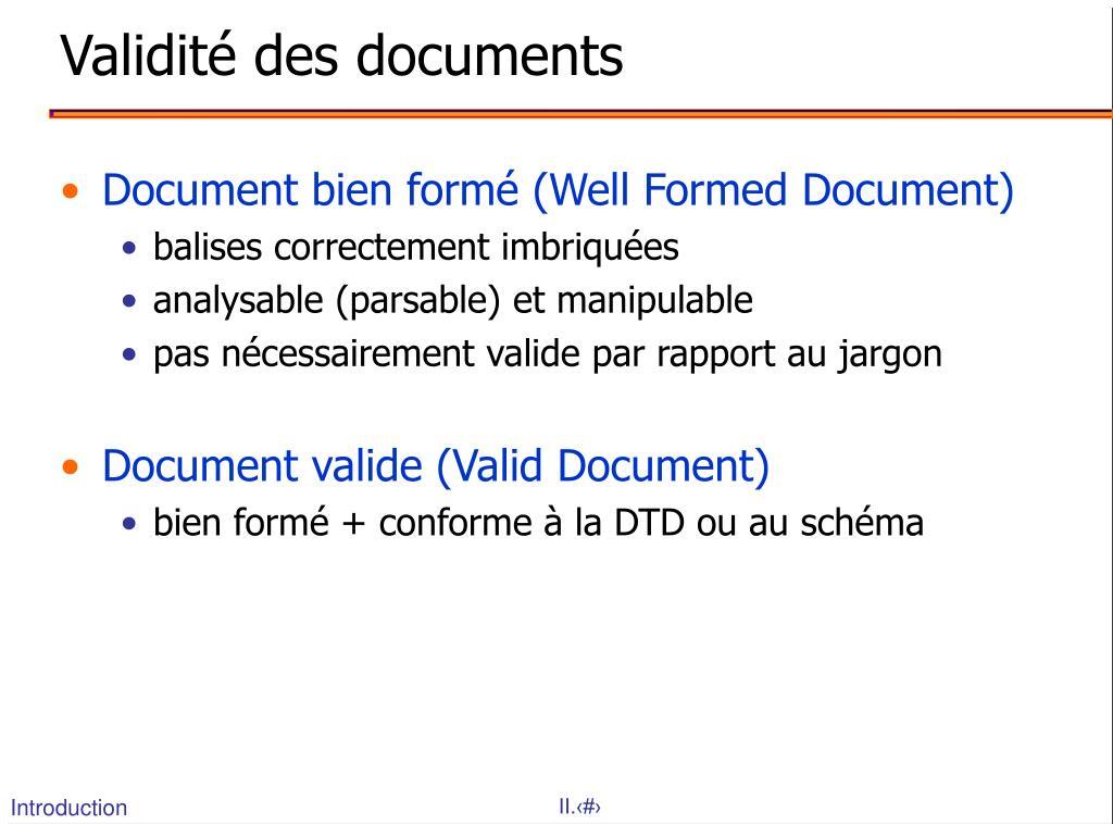 Validité des documents
