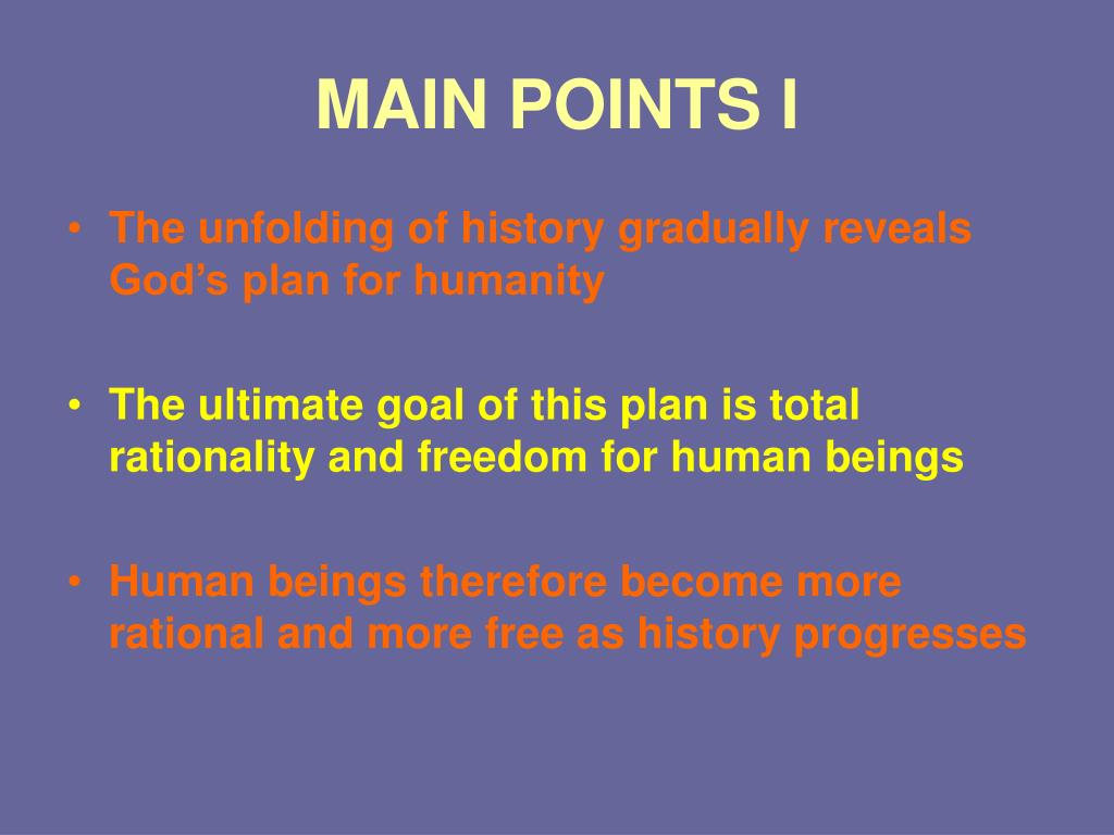 MAIN POINTS I