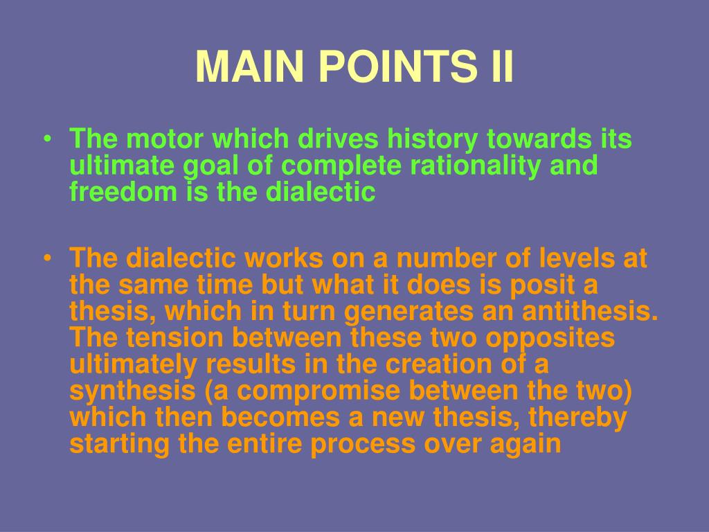 MAIN POINTS II