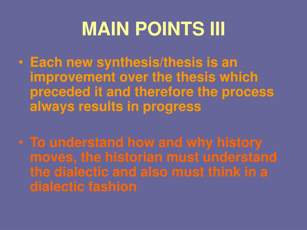 MAIN POINTS III